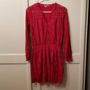 Anthropologie Leifnotes red lace look dress.